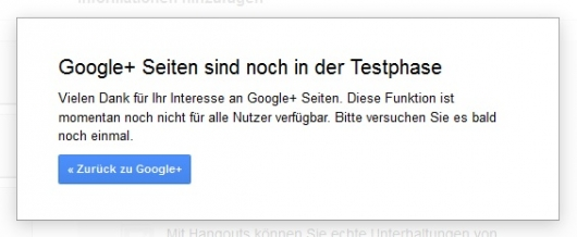 Google Plus-Seiten in der Beta-Phase